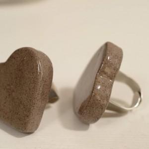 טבעת לב אפור