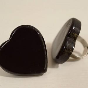 טבעת לב שחור