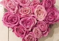 לב ורדים יבשים  ורוד
