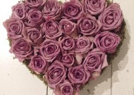 לב ורדים יבשים  סגול